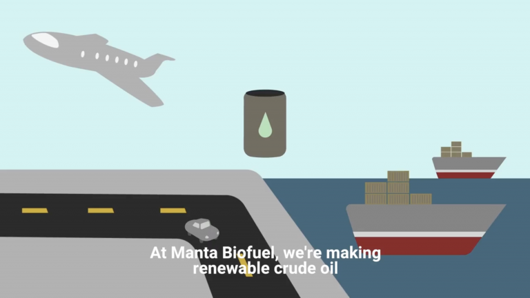 "Illustration of airplane with text, ""At Manta Biofuel, we're making renewable crude oil."""